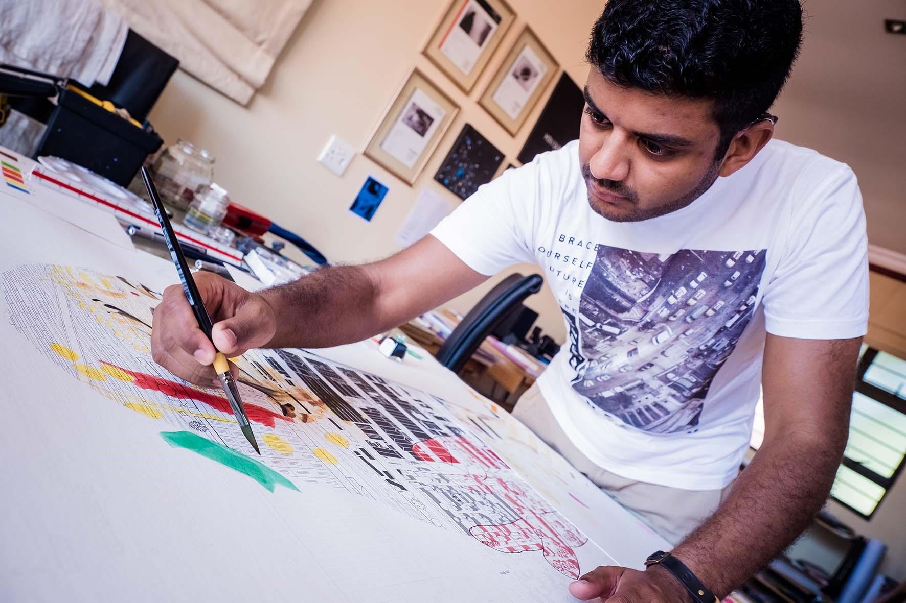 Hitenbawa hand with paint brush